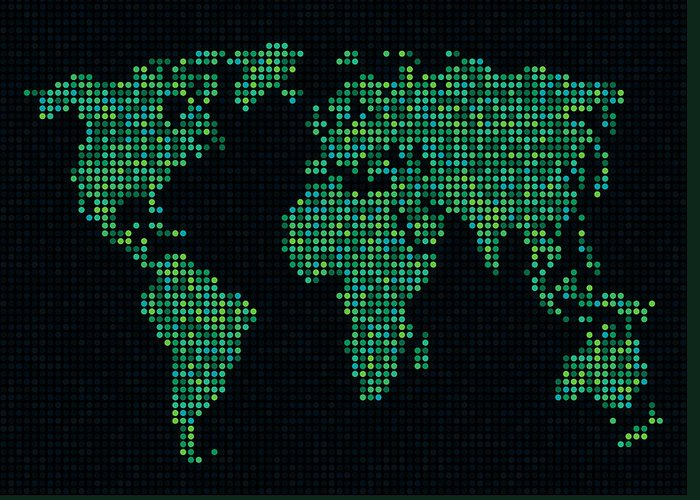 Map Greeting Card featuring the digital art Dot Map Of The World - Green by Michael Tompsett