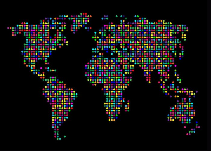 Map Greeting Card featuring the digital art Dot Map Of The World - Multi Colours by Michael Tompsett