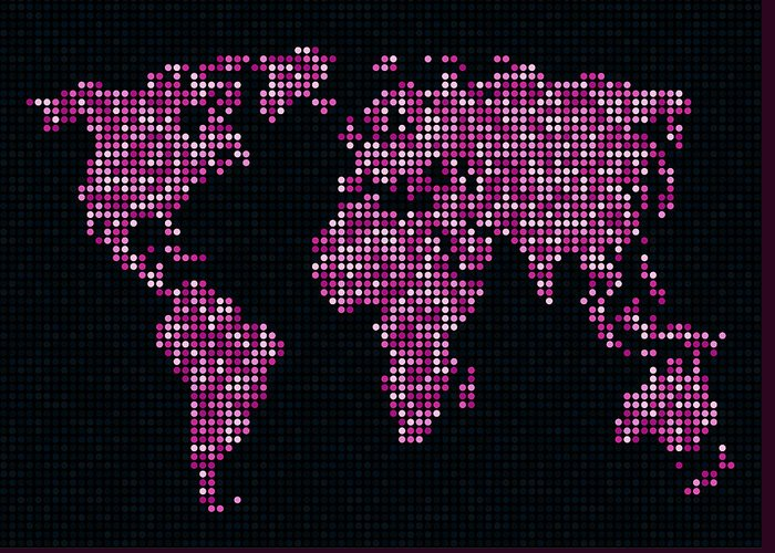 Map Greeting Card featuring the digital art Dot Map Of The World - Pink by Michael Tompsett