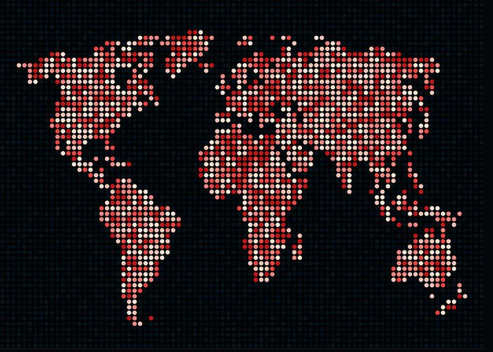 Map Greeting Card featuring the digital art Dot Map Of The World - Red by Michael Tompsett