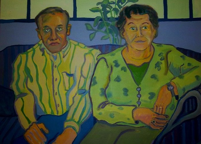 Older Couple Greeting Card featuring the painting Dottie And Jerry by Debra Bretton Robinson