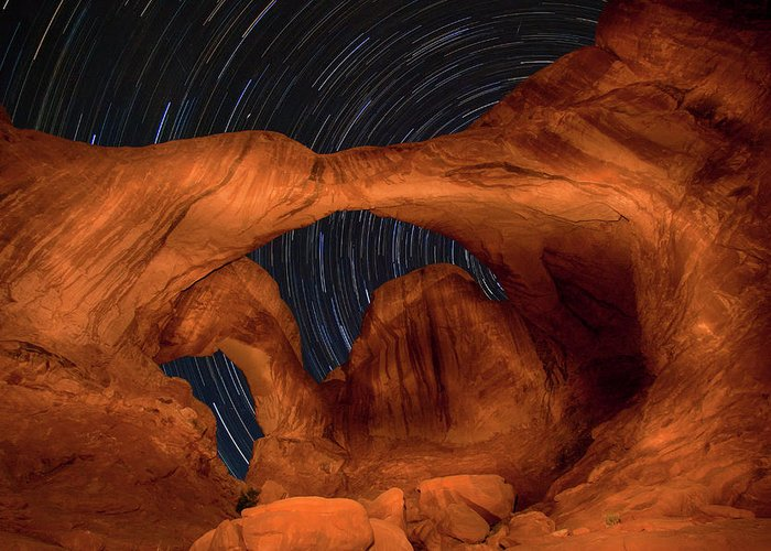 3scape Greeting Card featuring the photograph Double Arch Star Trails by Adam Romanowicz
