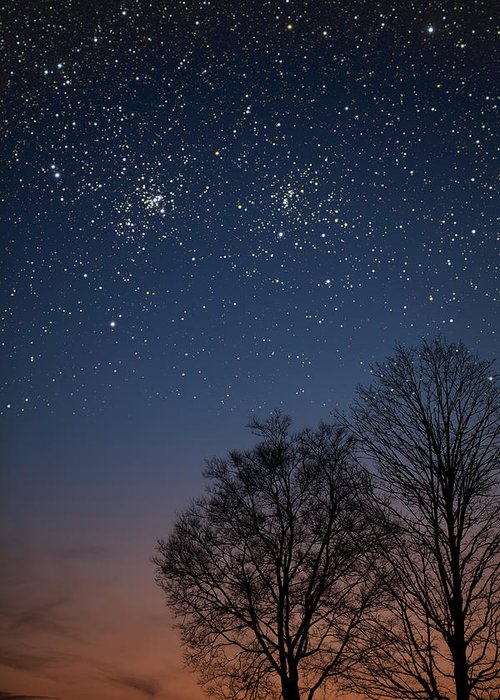 Stars Greeting Card featuring the photograph Double Cluster Sunset by Charles Warren