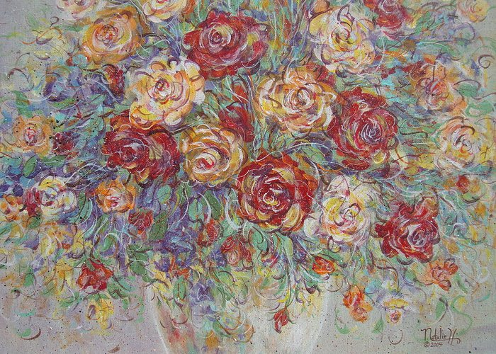 Flowers Greeting Card featuring the painting Double Delight. by Natalie Holland