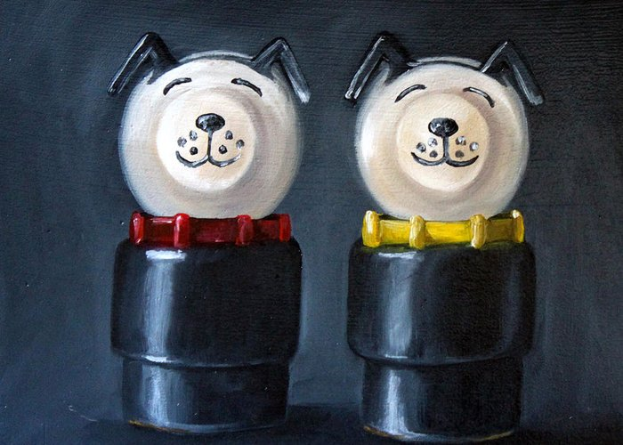 Toy Greeting Card featuring the painting Double Dog Dare by Cindy Cradler