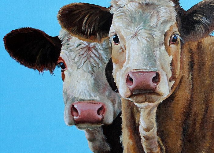Simmental Greeting Card featuring the painting Double Dutch by Laura Carey