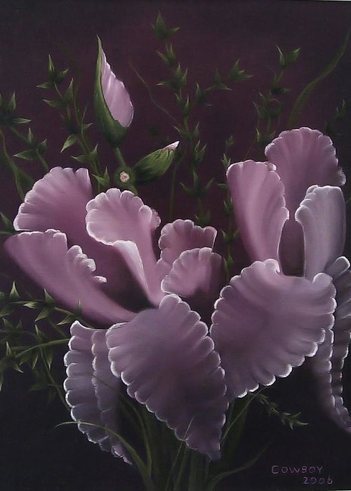 Iris Greeting Card featuring the painting Double Iris by Darren Yarborough