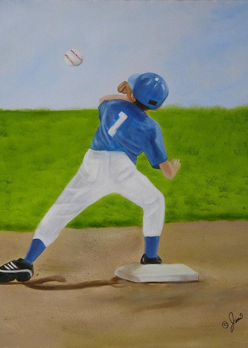 Sports Greeting Card featuring the painting Double Play by Joni McPherson