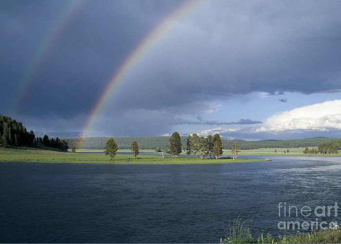 Yellowstone Greeting Card featuring the photograph Double Rainbow At Alum Creek by Sandra Bronstein