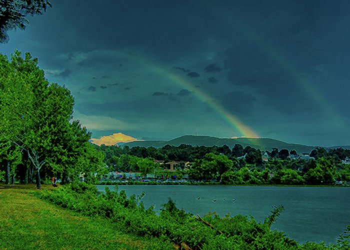 Bridge Hudson River Greeting Card featuring the photograph Double Rainbow by David Hahn