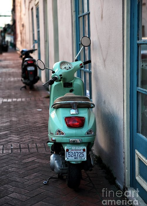 Double Scooters Greeting Card featuring the photograph Double Scooters by John Rizzuto