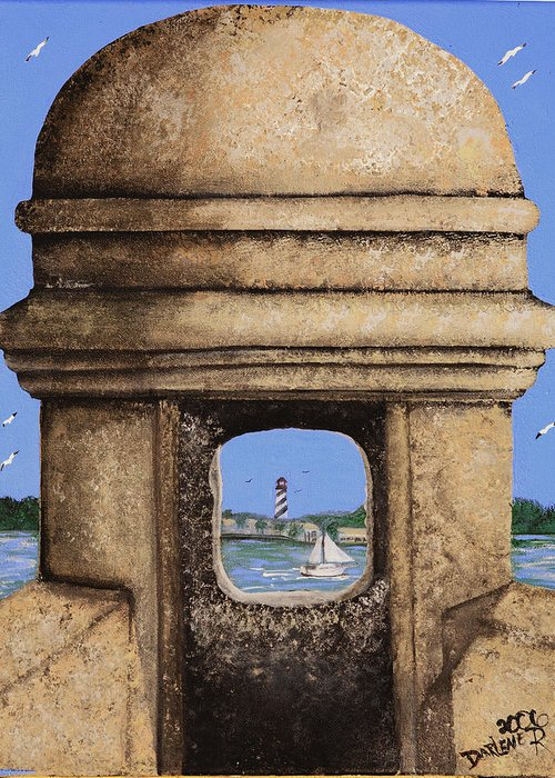 St. Augustine Lighthoue Greeting Card featuring the painting Double Sentry by Darlene Green