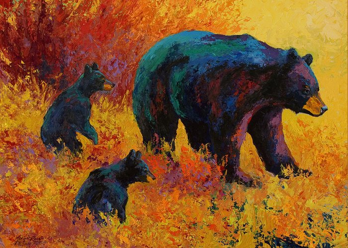 Bear Greeting Card featuring the painting Double Trouble - Black Bear Family by Marion Rose