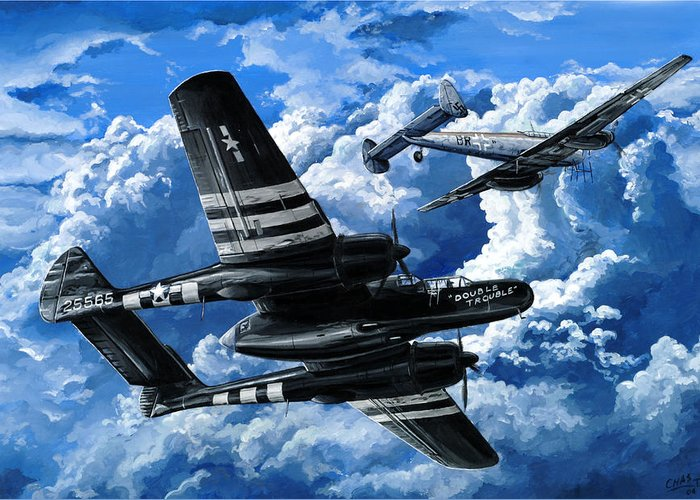 P-61 Greeting Card featuring the painting Double Trouble by Charles Taylor
