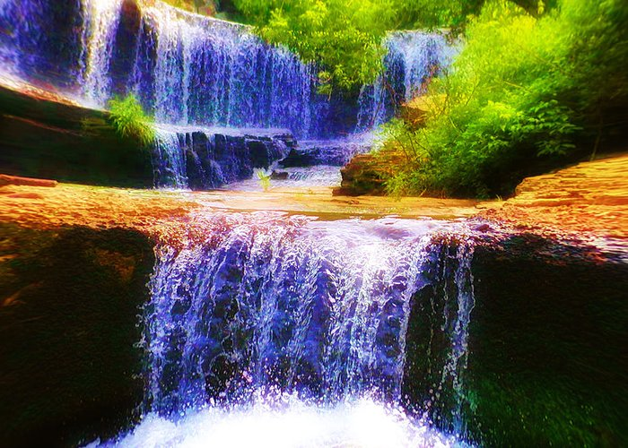 Waterfall Greeting Card featuring the photograph Double Waterfall by Bill Cannon