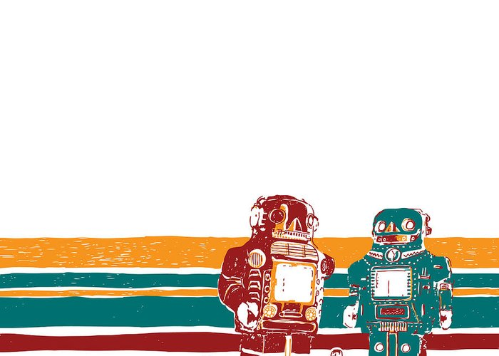 Drawing Greeting Card featuring the drawing Doubotganger Robots by Karl Addison