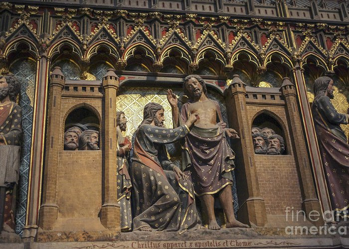 Apostles Greeting Card featuring the photograph Doubting Thomas Scene by Patricia Hofmeester