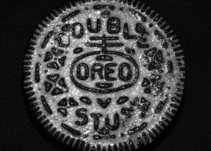 Oreo Greeting Card featuring the photograph Doulble Stuff Oreo In Black And White by Rob Hans
