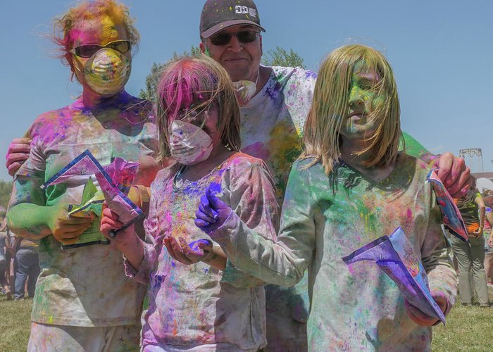 Holi Festival Greeting Card featuring the photograph Doused With Color 3 by Billy Joe