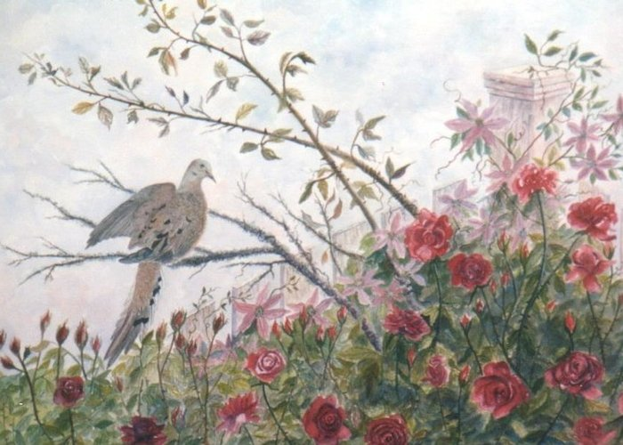 Dove; Roses Greeting Card featuring the painting Dove And Roses by Ben Kiger