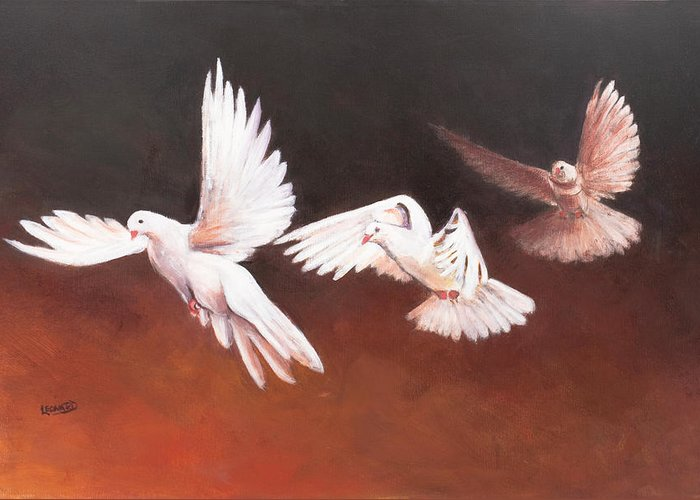 Doves Greeting Card featuring the painting Doves Decending by Leonard R Wilkinson