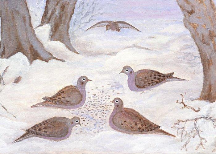 Folkartanna Greeting Card featuring the painting Doves In New York - Winter by Anna Folkartanna Maciejewska-Dyba
