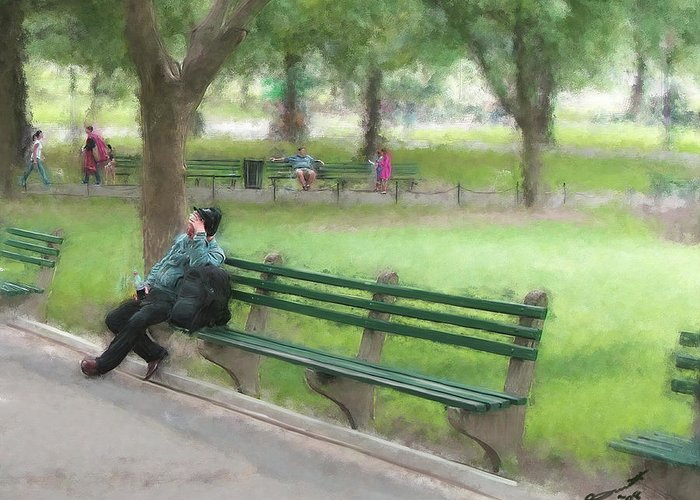 Boston Common Homeless Old Man Green Bench Park Greeting Card featuring the painting Down But Not Out by Eddie Durrett