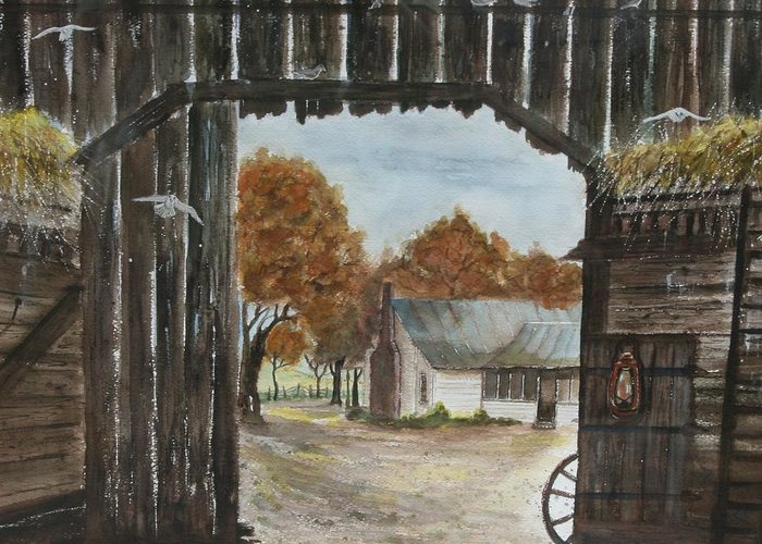 Grandpa And Grandma's Homeplace Greeting Card featuring the painting Down Home by Ben Kiger