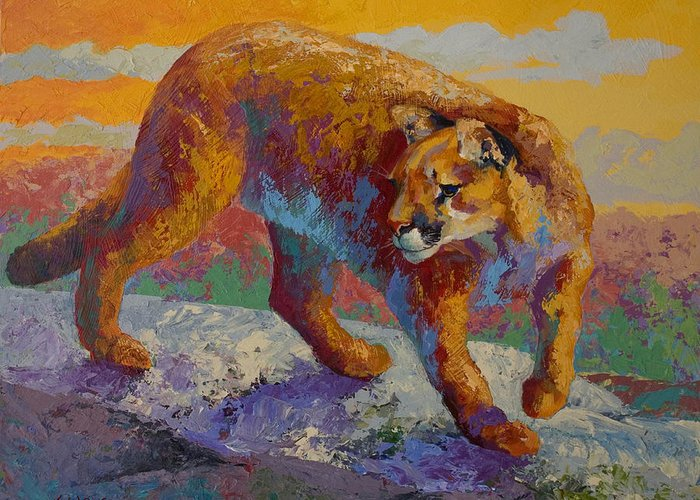 Mountain Lion Greeting Card featuring the painting Down Off The Ridge - Cougar by Marion Rose