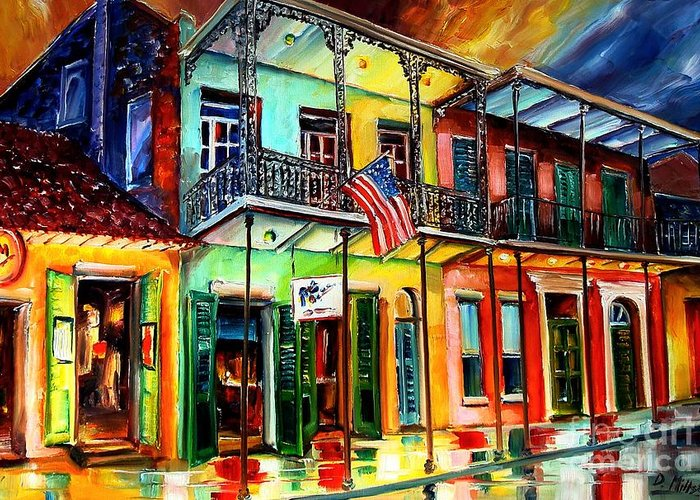 New Orleans Greeting Card featuring the painting Down On Bourbon Street by Diane Millsap
