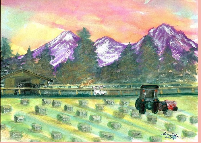 Farmscape Greeting Card featuring the painting Down On The Farm by Laura Johnson