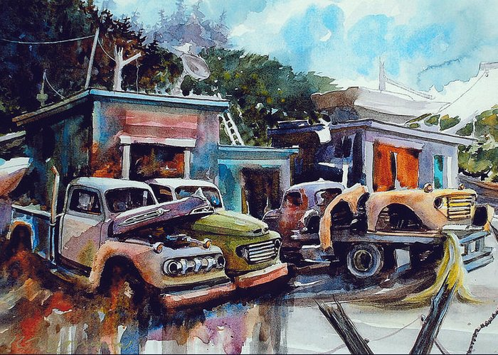 Trucks Greeting Card featuring the painting Down on the Lower Road by Ron Morrison
