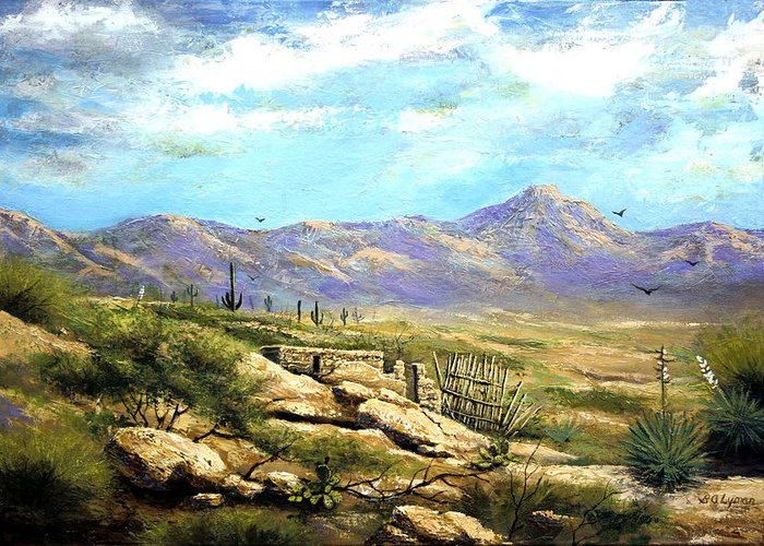Landscape Greeting Card featuring the painting Down Sedona Way by Brooke Lyman
