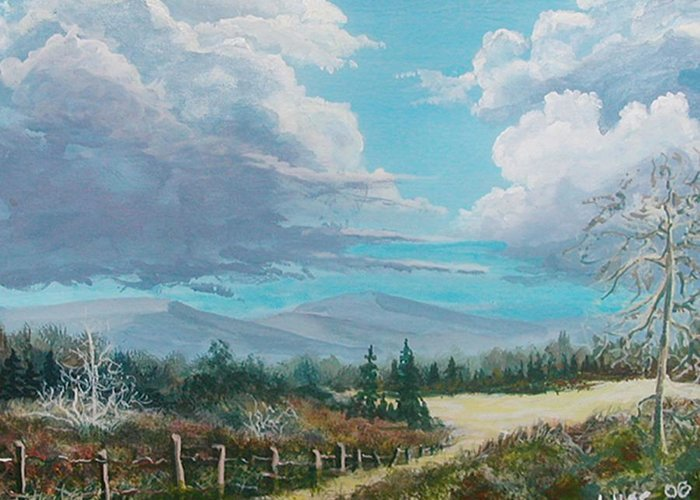 Lanscape Greeting Card featuring the painting Down To The Meadow by John Wise