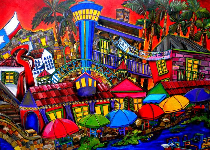 San Antonio Greeting Card featuring the painting Downtown Attractions by Patti Schermerhorn