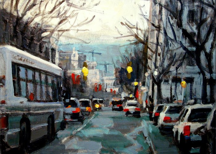 Landscape Paintings Greeting Card featuring the painting Downtown by Brian Simons