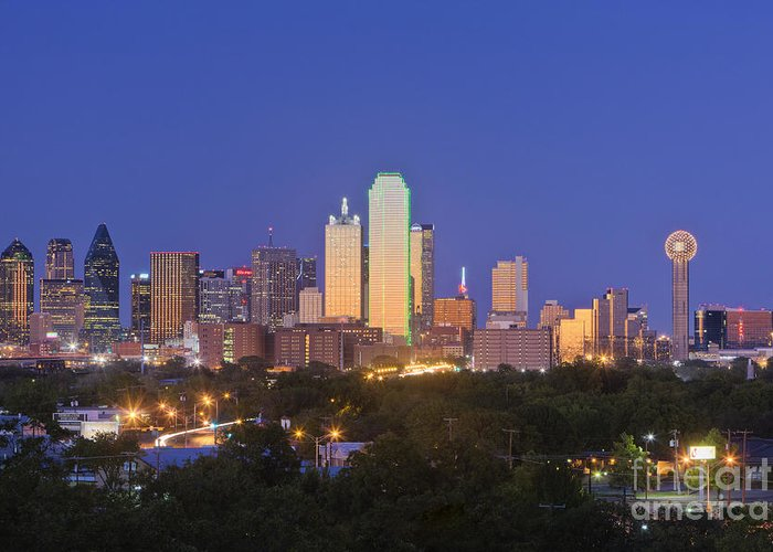 Beautiful Greeting Card featuring the photograph Downtown Dallas Skyline At Dusk by Jeremy Woodhouse