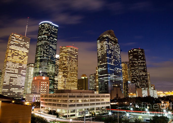 Architecture Greeting Card featuring the photograph Downtown Houston At Night by Olivier Steiner