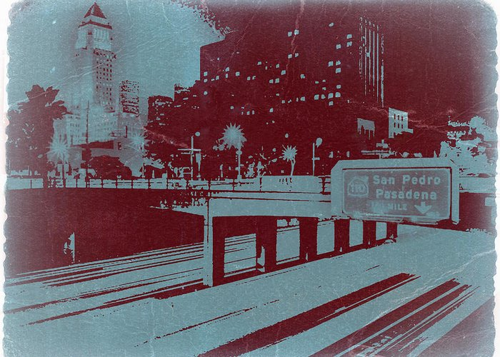 Greeting Card featuring the photograph Downtown La by Naxart Studio