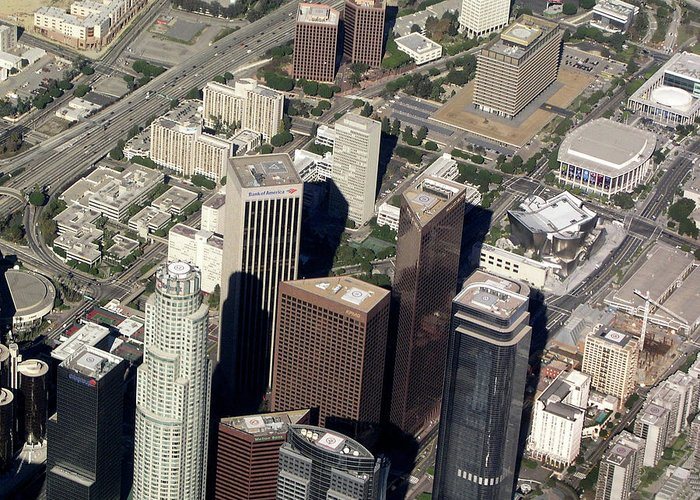 Downtown Greeting Card featuring the photograph Downtown Los Angeles From Above by Helaine Cummins