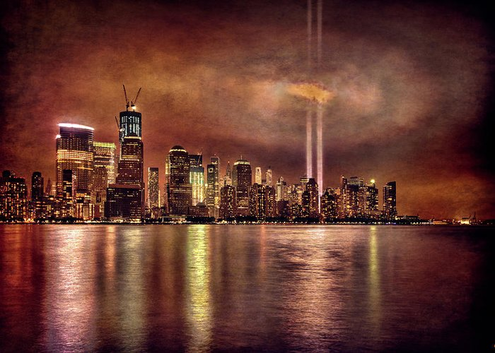 9/11 Greeting Card featuring the photograph Downtown Manhattan September Eleventh by Chris Lord