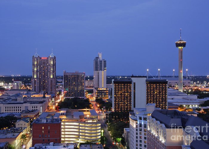 Architecture Greeting Card featuring the photograph Downtown San Antonio At Night by Jeremy Woodhouse