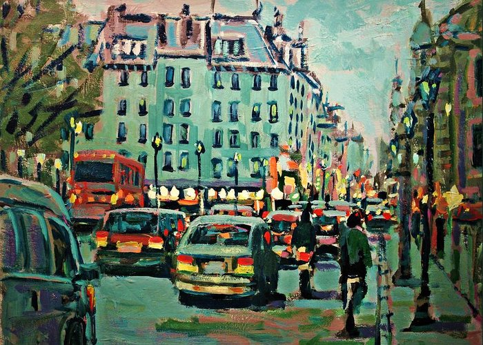 Landscape Greeting Card featuring the painting Downtown Traffic by Brian Simons