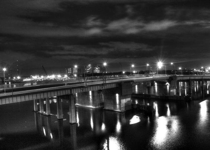 Landscape. Of City At Night And A Bridge Greeting Cards