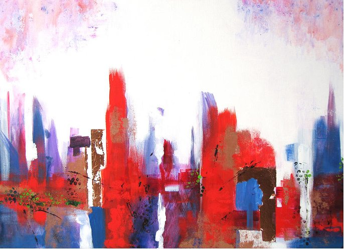 Abstract Cityscape Greeting Card featuring the painting Downtown by Vicki Brevell