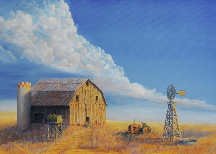 Barn Greeting Card featuring the painting Downtown Wyoming by Jerry McElroy