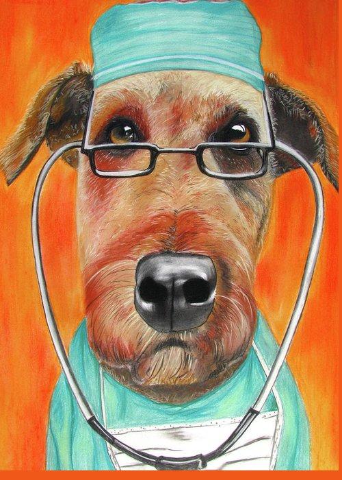 Michelle Hayden-marsan Painting Greeting Card featuring the painting Dr. Dog by Michelle Hayden-Marsan