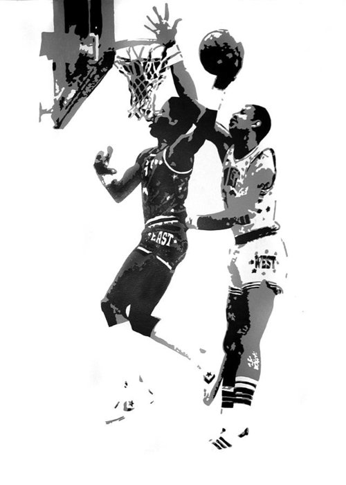 Basketball Greeting Card featuring the painting Dr. J And Kareem by Ferrel Cordle