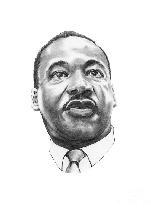 Portrait Greeting Card featuring the drawing Dr. Martin Luther King by Murphy Elliott