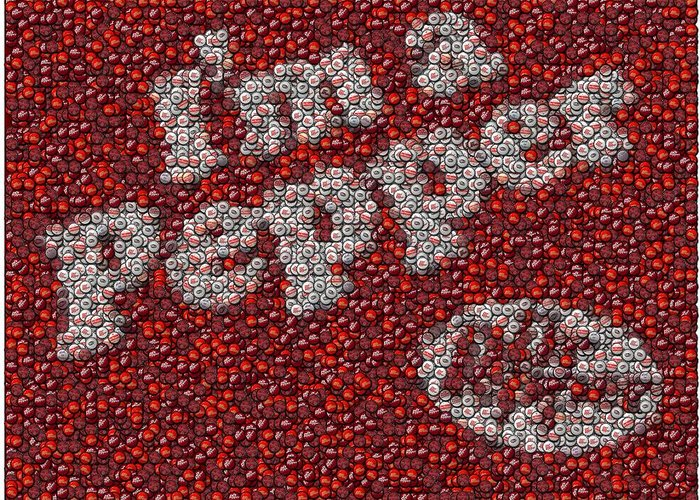 Dr. Pepper Greeting Card featuring the mixed media Dr. Pepper Bottle Cap Mosaic by Paul Van Scott